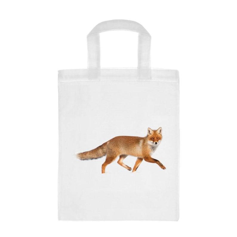 Fox Image Mini Reusable White Shopping Bag 26 x 32.5cm