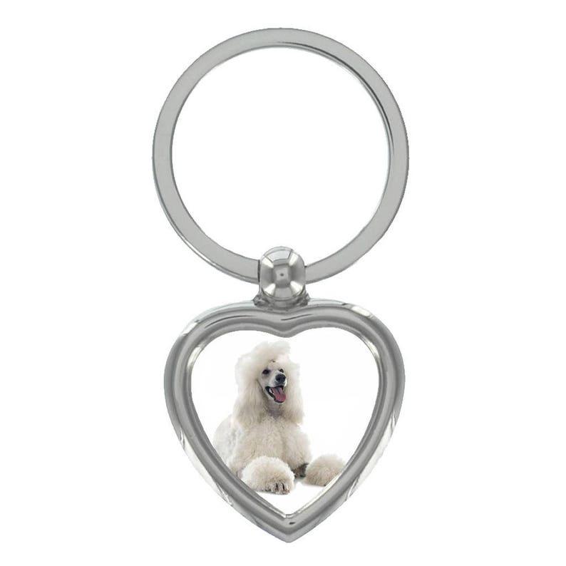Maltese Dog Image Heart Shaped Keyring in Gift Box