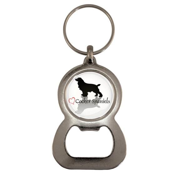 Cocker Spaniel Dog Image Metal Spinning Keyring in Gift Box