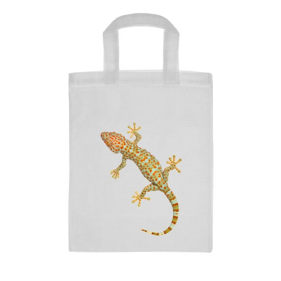 Tokay Gecko Image Mini blanc Shopping sac réutilisable 26 x 32,5 cm