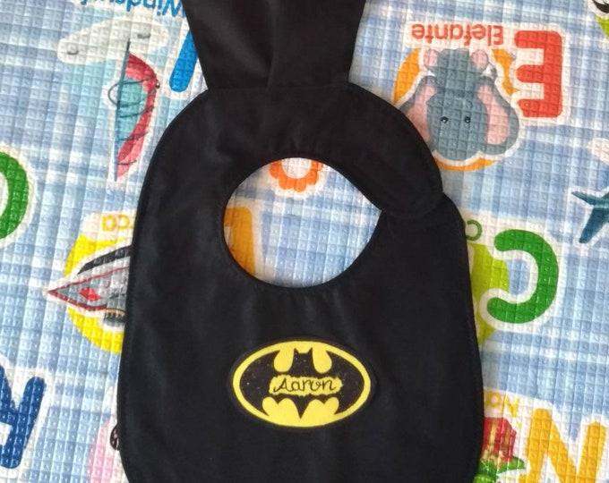 BATMAN bib with NAME, waterproof bibs, cotton bibs, handmade bibs, funny bibs, boy bibs, baby bibs, binky bib, custom bibs