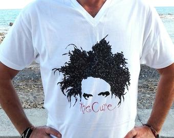 THE CURE tshirt, Robert Smith, music, rock music, rock band, vintage tshirt, hand painted tshirts, cotton tshirt