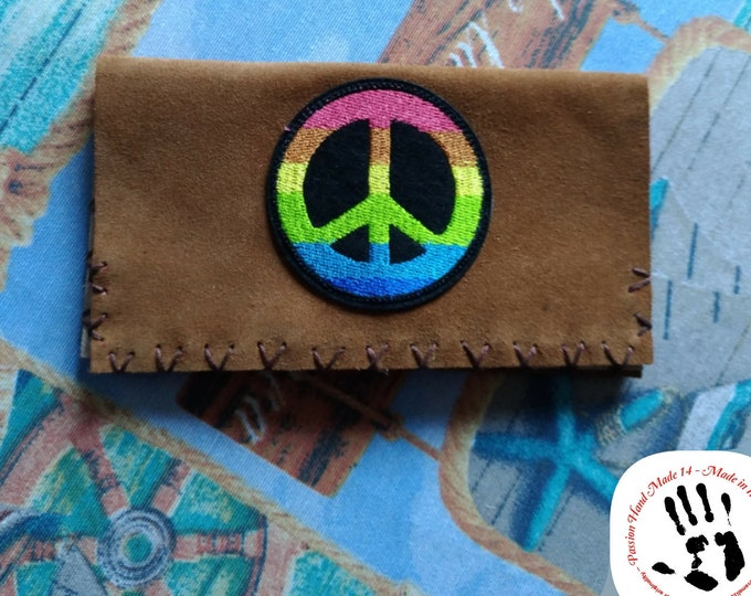 PEACE pouch, tobacco leather pouch, real leather wallet, hand made