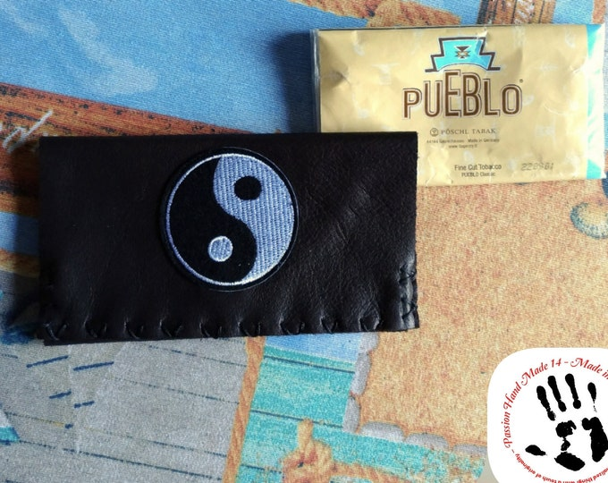 YIN YANG pouch, tobacco leather pouch, real leather wallet, hand made