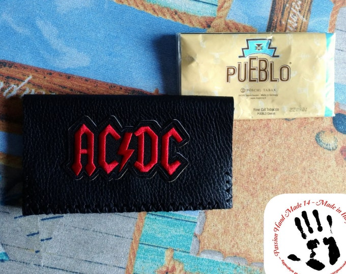 AC DC pouch, tobacco leather pouch, real leather wallet, hand made