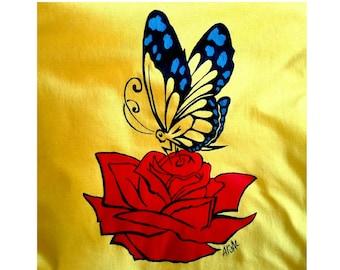 Butterfly t-shirt, rose tshirt, flower t-shirt, hand painted t shirts, 100% cotton t shirt, custom t shirt