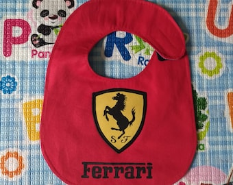 FERRARI, F1, bib, Rock, waterproof, cotton, handmade, funny, custom bibs hand painted