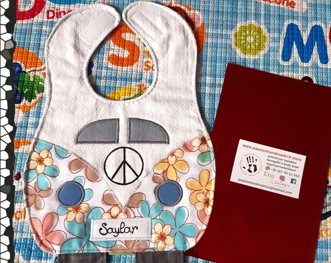 MINI VAN baby bib, waterproof, cotton, handmade, funny, custom bibs hand painted