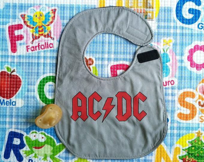 AC/DC bib, Rock, waterproof, cotton, handmade, funny, custom bibs hand painted