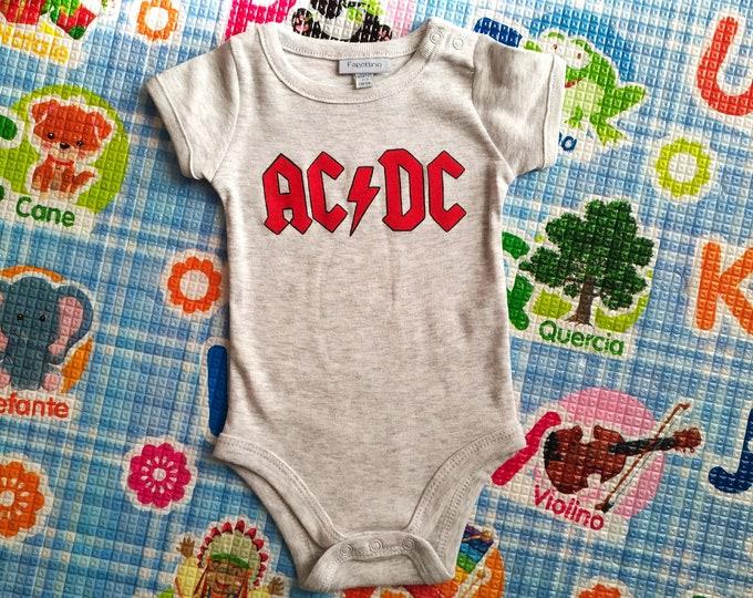 AC DC baby bodysuit, newborn, baby boy, baby girl, custom baby romper