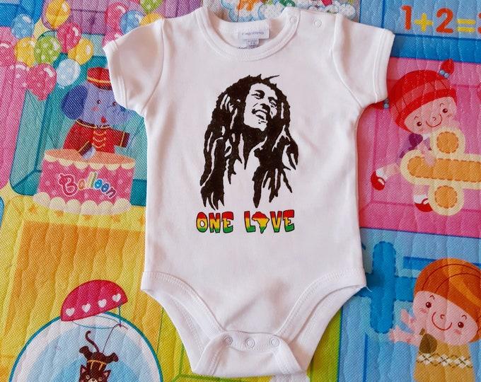 BOB MARLEY baby bodysuit, newborn, baby boy, baby girl, custom baby romper