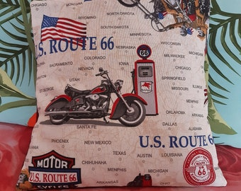 "Cover for pillow 18""x18"", vintage style, motorbike, route 66, bycicle, vespa"