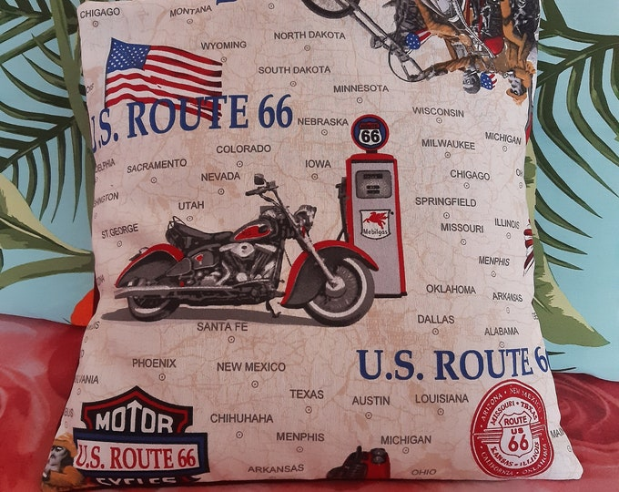 """Cover for pillow 18""""x18"""", vintage style, motorbike, route 66, bycicle, vespa"""