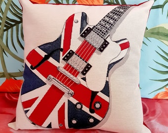 "GUITAR UK, cover for pillow 18""x18"""