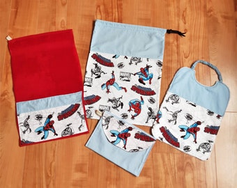 Baby set 3 pieces, SUPEREROI - CARS - VOLKSWAGEN, towel bib bag personalized, free name, 100% cotton