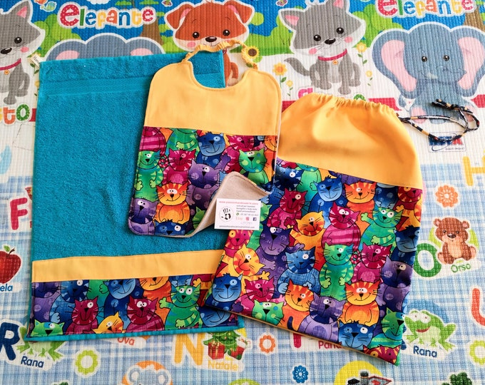 Baby set 3 pieces, towel bib bag, personalized with name, 100% cotton