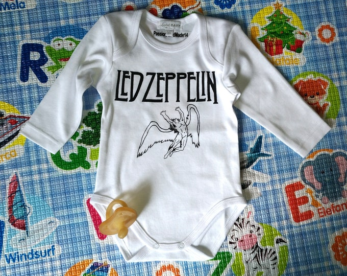 Led Zeppelin baby bodysuit WITH YOUR NAME, newborn, baby boy, baby girl, custom baby romper