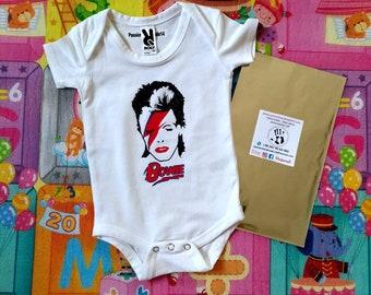 David Bowie baby bodysuit, newborn, baby boy, baby girl, custom baby romper
