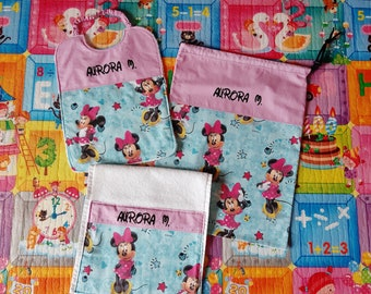 Baby set 3 pieces, MINNIE - PRINCESS, towel bib bag personalized, free name, 100% cotton