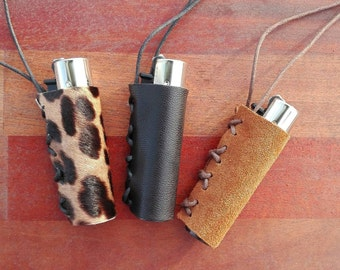 Leather lighter case, clipper case with sliding cord, holder necklace, hand made leather cover, lighter cover
