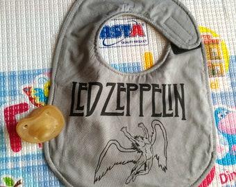 Led Zeppelin bib, Rock, waterproof, cotton, handmade, funny, boy bibs, baby bibs, binky bib, custom bibs hand painted