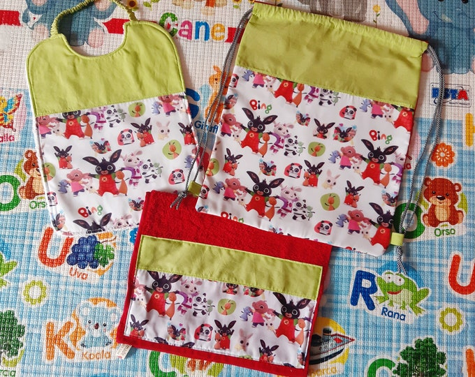 Baby set 3 pieces, BING - MICKEY MOUSE, towel bib bag personalized, free name, 100% cotton
