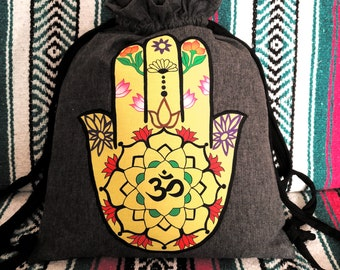 DRAWSTRING bag, personalizable bag, hand painted