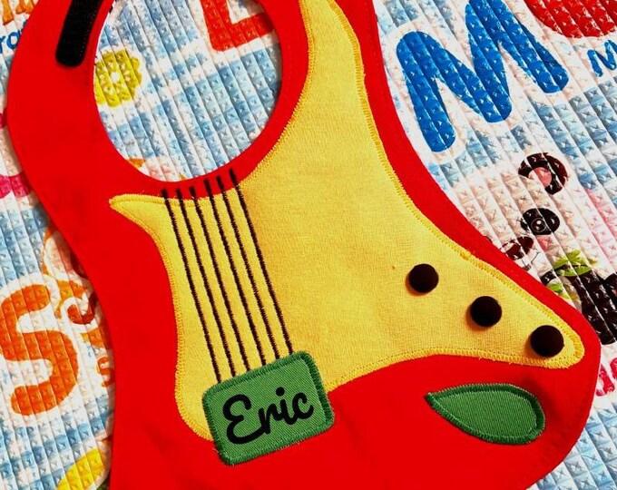 Waterproof bibs, guitar bibs, cotton bibs, handmade bibs, funny bibs, rock bib, boy girl bibs, baby bibs, binky bib, custom bibs, name bibs