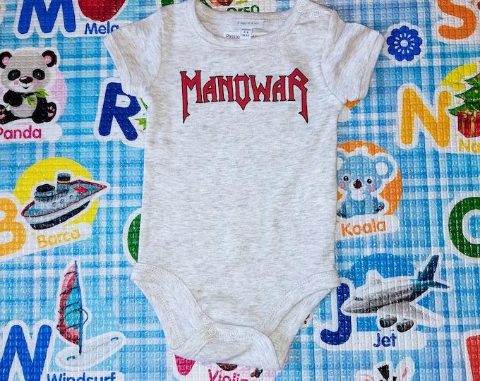 MANOWAR baby bodysuit, newborn, baby boy, baby girl, custom baby romper