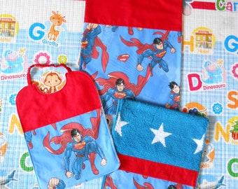 Baby set 3 pieces, SUPEREROI - CARS - VOLKSWAGEN, towel bib bag personalized, free name, 100% cotton