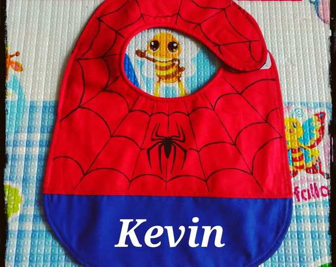 SPIDERMAN bib, Marvel bib, waterproof bibs, cotton bibs, handmade bibs, funny bibs, boy bibs, baby bibs, custom bibs