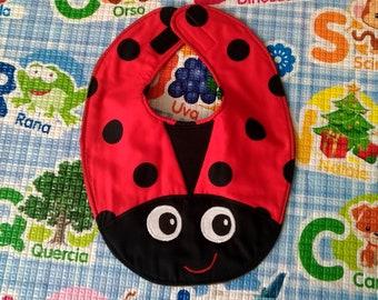 Ladybug bib, waterproof bibs, animal bibs, cotton bibs, handmade bibs, funny bibs, boy girl bibs, baby bibs, binky bib, custom bibs
