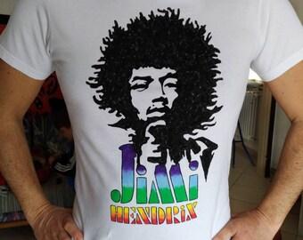 Jimi Hendrix, guitar, 1980s, James Marshall Hendrix, rock music, hendrix tshirt, hand painted tshirts, cotton tshirt