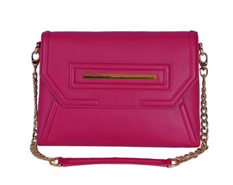 Leather Portfolio Clutch With Built-In Touch Light & Detachable Strap