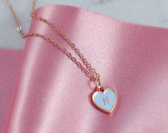 Initial Necklace | Tiny Heart Necklace | Dainty Necklace | Heart Necklace | Personalised Jewelry | Purple Necklace | Pastel Necklace |RG