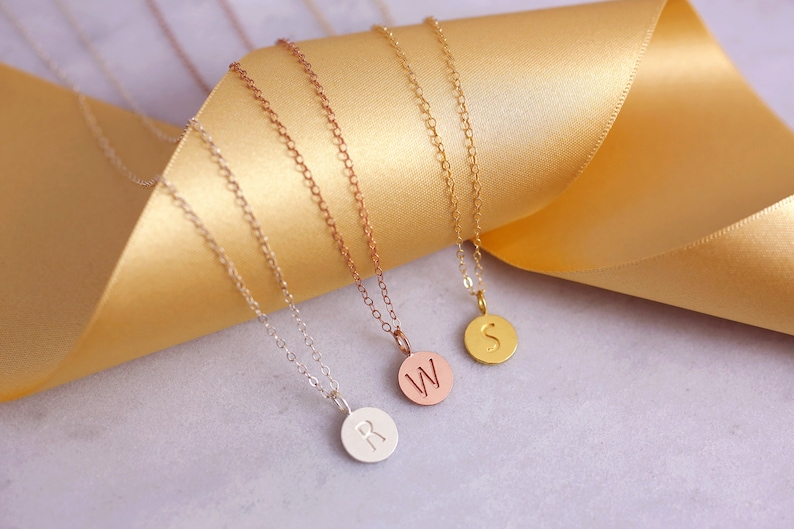 Dainty Gold Charm Bridesmaid Jewelry Dainty Necklace Gift Proposal Be My Bridesmaid Round Disc Necklace Dainty Necklace