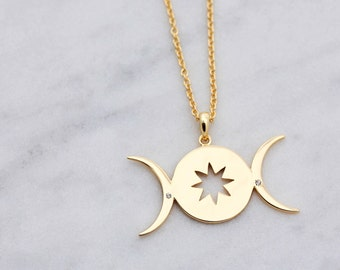 Triple Moon | Female Empowerment |  Triple Goddess Moon | Jewelry | You are safe with me | Make a Wish | Galaxy Jewellery Gift | Moon