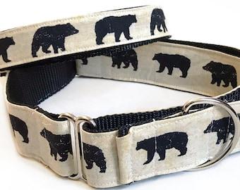 Bears! - Handmade MARTINGALE or BUCKLE dog collar