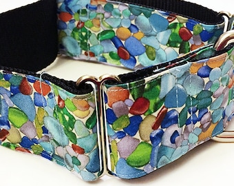 Sea Glass! Down by the Ocean! - Handmade MARTINGALE or BUCKLE dog collar