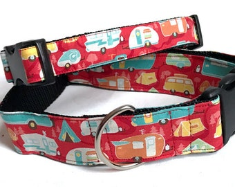 Camping! Tents! Great Outdoors!- Handmade MARTINGALE or BUCKLE dog collar