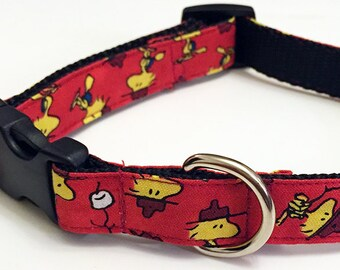 Peanuts Camping Woodstock! - Handmade MARTINGALE or BUCKLE dog collar