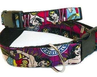Wonder Woman! - Handmade MARTINGALE or BUCKLE dog collar