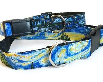 Van Gogh Starry Night! - Handmade MARTINGALE or BUCKLE dog collar
