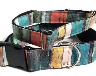 Wood Panel! Colorful! - Handmade MARTINGALE or BUCKLE dog collar