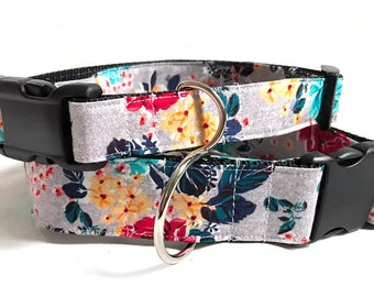 Roses! Blue and Red! - Handmade MARTINGALE or BUCKLE dog collar