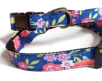 Blue Flowers! - Handmade MARTINGALE or BUCKLE dog collar