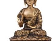 Lord Buddha Feng shui Thai Brass Premium Meditating Buddha Decorative Showpiece Buddha Statue Figurine Sculpture-20 cm(Brass) home decor