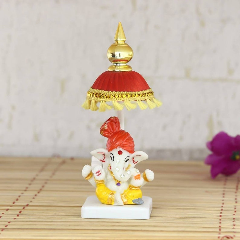 Lord Ganesha with chatri-car -dashboard/temple office desk decorative  showpiece Home/table decor, 18cm (polyresin) house warming Gift Indian
