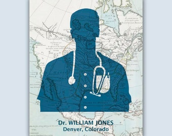 Medical Art Personalized Physician Print Graduation Gift Etsy