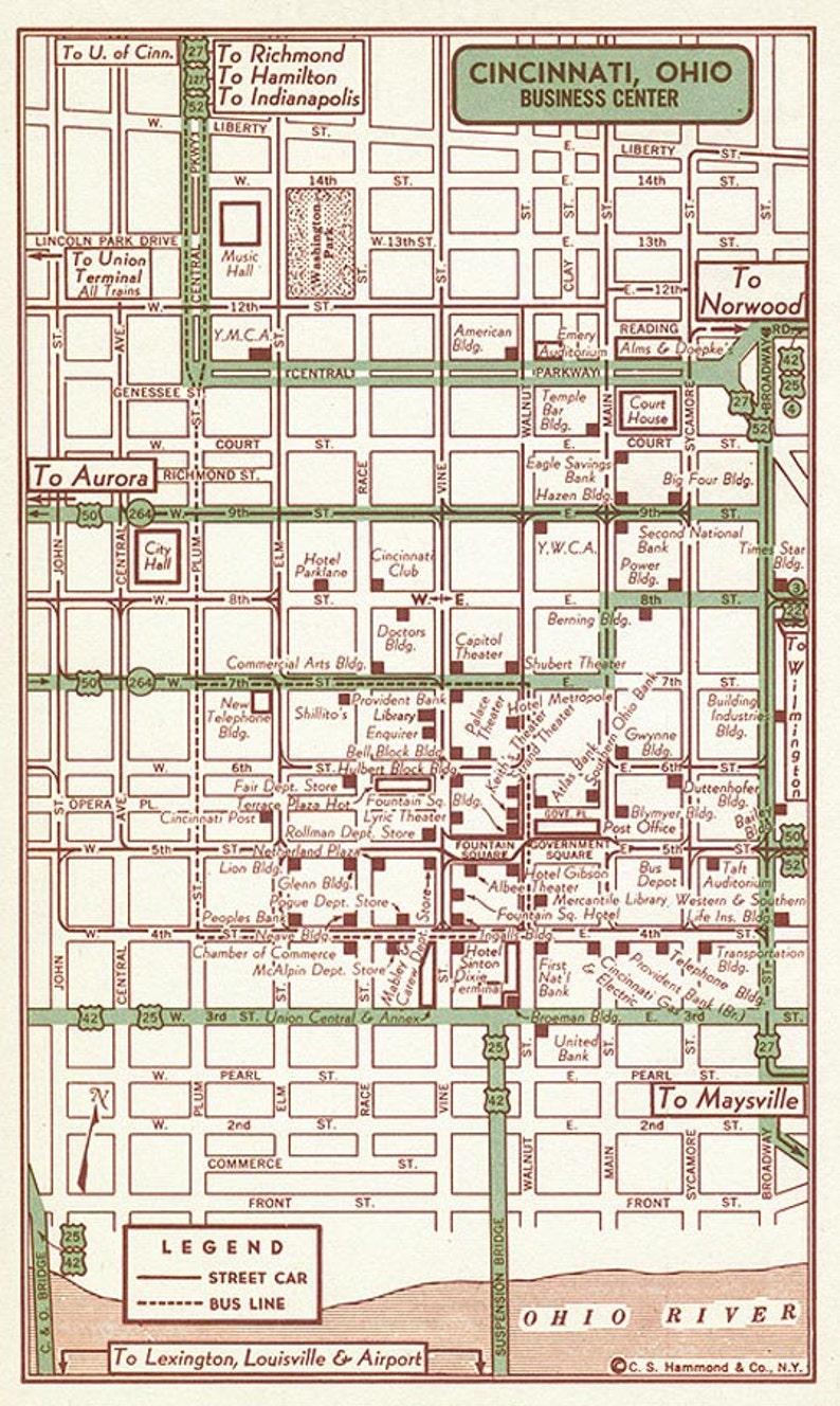 Cincinnati Ohio Map Cincinnati Map Gift Cincinnati Old Map | Etsy